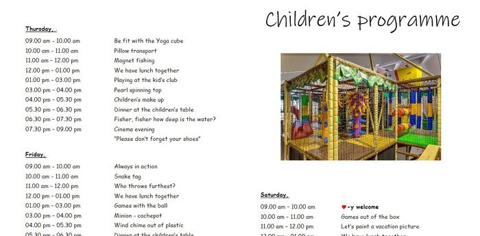 Childrens program - Programme for children