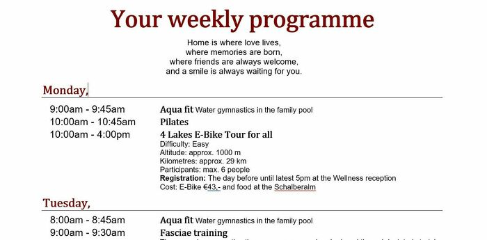 Weekly program - Programme of your holiday week